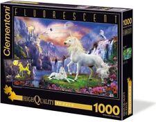 """Clementoni Collection Puzzle """" Unicorns """" 1000 Pieces 69x50cm Large Flourescent"""