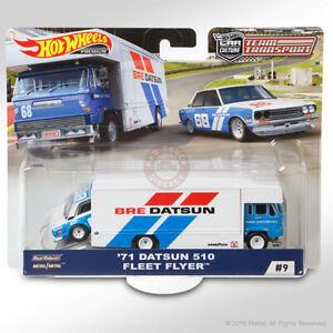 """Hot Wheels TEAM TRANSPORT Mix C #9 '71 DATSUN 510 & FLEET FLYER """"BRE DATSUN"""""""