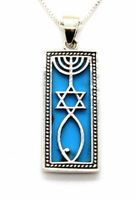 """Sterling Silver Messianic Seal Turquoise Grafted In Israel pendant 18"""" necklace"""