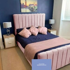 Pink Plush Velvet Oxford Sleigh Bed And Memory Foam Mattress