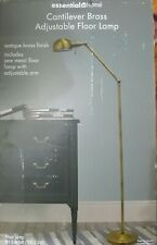 """Essential Home Cantilever Floor Lamp Brass Finish 61.5"""" Tall Study Lamp For Dorm"""