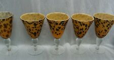 Stylish 5 Amici Italy hand made large animal print wine glasses 8 inches tall