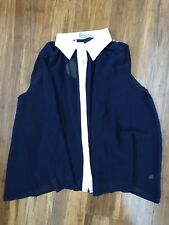 BNWT Lovestruck See Through Sleeveless Navy Shirt with Lace Collar SIZE M