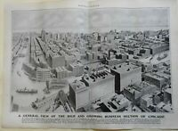 Downtown Chicago Bird's Eye View Chicago River Boats Bridges 1905 old print