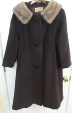 Vintage 50's 60's FURLAINE  Brown Coat Fur Collar -- Sz M/L -- Exc Cond!
