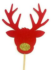 Red Glitter Rudolf the Red Nose Reindeer Christmas / Xmas Cake topper