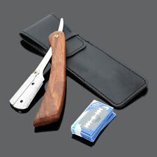 Rosewood Handle Straight Edge Barber Razor Folding Shaving Knife with 10 Blades