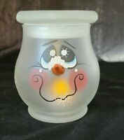 Whimsical Frosted Frosty SNOWMAN Head with Candle holder LED light