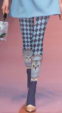 Unique Harajuku Japanese Sweet Cute Cat Harlequin Blue Printed Tights Pantyhose