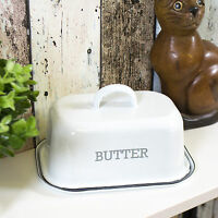 Distressed Vintage Enamel Butter Storage Dish with Lid Dining Table Serving Bowl