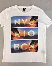 H&M T-shirt NYC RIO BCN White With Beach Shore Womens Size M