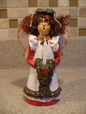 "Caroling Christmas Angel Limited Edition 6"" Tall With Halo Holding Candle"