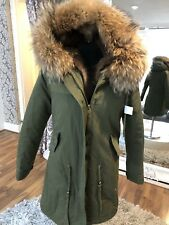 real fur Parka Raccoon Fur Nyctereutes Procyon Hood and lining Size 6 UK 18790
