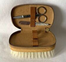 Vintage Grooming Kit Zippered Compartment Atop a Brush