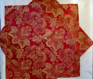 "2 pc. CROSCILL BELLISSIMA Red & Gold Paisley Medallion 20"" Small Dresser Scarves"