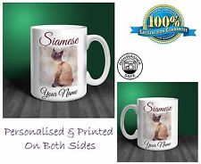 Siamese Cat Personalised Ceramic Mug: Perfect Gift. (CA04)