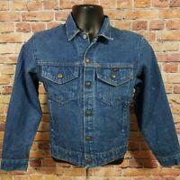 Vintage Key Imperial Denim Blue Jean Cowboy Trucker Farm Work Jacket Youth Sz 14