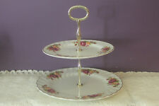 WOOD & SONS 'COTTAGE ROSE' IRONSTONE 2-TIER TIDBIT SERVER
