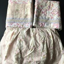 Shabby Cottage Floral Queen Bedskirt and Pair King Shams Pink Green Blue Cream