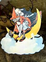 Repro Vintage Witch Flying Over Moon,Clouds Halloween Cardstock Decoration, 8""