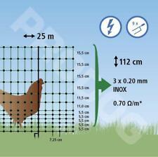 Filet ELECTRIFIABLE DOUBLE POINTE  volaille 25 mètres / haut 112cm cloture poule