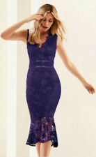 NEW Lipsy Abbey Clancy Size 10  Purple Lace Midi Bodycon Dress Flippy Hem Cruise