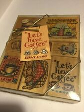 New Hero Arts 1996 Rubber Stamp Set Sealed 90s Java Lets Have Coffee 7 Lot