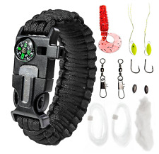 Paracord Bracelet Emergency Kit 17 pc Survival Gear Fishing Bait Fire Tinder BLK