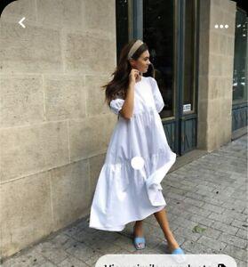 NEW Zara White Puff Sleeve Cotton Poplin Midi Dress - size S