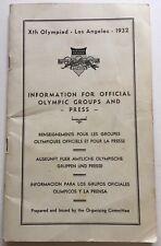 1932 Olympics Press Book Includes LA Map