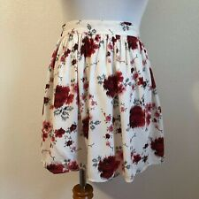 American Eagle Outfitters AE AEO Cream Ivory Red Floral Short Skirt - Size Small