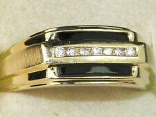 Men's 10k Yellow Gold Onyx & Diamond Band Fine Ring-Size 10.25