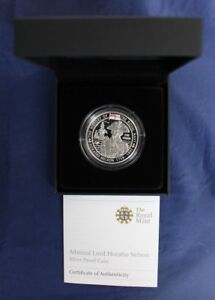 """2009 Guernsey Silver Proof £5 """"Horatio Nelson"""" in Case with COA"""