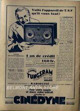 Ancienne publicite originale - 1931 - T.S.F - Cinédyne - récepteur à 6 lampes