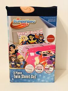 NEW DC SuperHero Girls Cosmic Girl 3 Piece Twin Sheet Set Bedding Super Hero