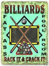 MANCAVE BILLARDS METAL SIGN POOL table stick balls plaque GAME ROOM decor 149