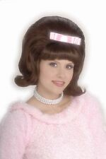 Womens Bouffant Wig 50s Brown Hair Rockabilly Flip Pink Bow Rocker Grease Adult