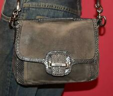 COACH TAYLOR Gray PYTHON-EMBOSSED Suede Cross-body Satchel Purse Bag 25147