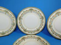 4 Aynsley China HENLEY Green Backstamp Gold Trim Dinner Plates 10.5""