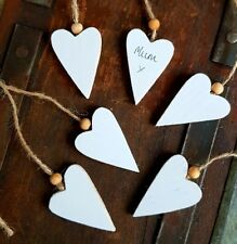 6 White Christmas/wedding wooden hearts gift tags/place name setting craft shape