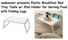 Breakfast Food Serving Serve Bed Tray Table in White w/ iPad Holder for Serving