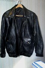 Vintage Genuine Leather Black Bomber Style Jacket Top-Stitched Size Large