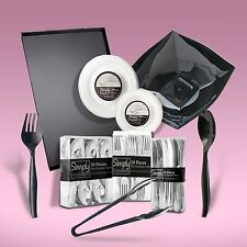 210 Piece Dinner Set With Silver Rim With Serving Platters & Bowls For 20 People