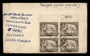 DR WHO 1950 ADEN KGVI PLATE BLOCK TO SCOTLAND  f82955