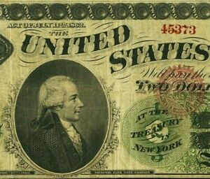 Elusive Fr. 41c 1862 $2 Legal Tender VERY RARE only 6 known