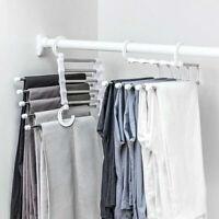 2Pcs Pants Rack Shelves 5 in 1 Multifunctional Trousers Hangers Space Saving