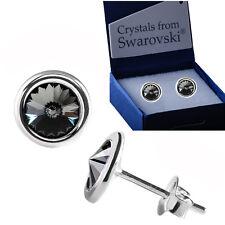 925 Plata Esterlina Aretes Diamante Negro Cristales de Swarovski ® Rivoli