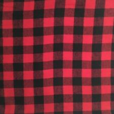 "Red And Black Buffalo Plaid Flannel Fabric 1 1/4"" Check"