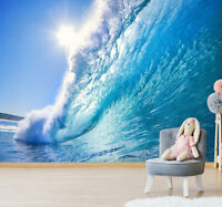 3D Ocean Wave Surfing Self-adhesive Living Room Wall Mural Photo Wallpaper Decor