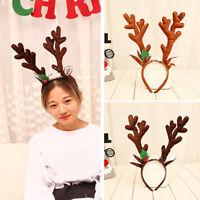 KM_ HD_ Kids Adults Cute Christmas Antlers Hair Hoop Headband Party Headwear G